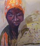 woman with orange headscarf