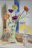 flowers with glass